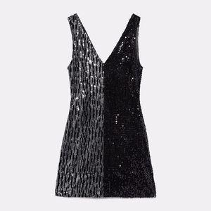 Zara Two Toned Black Disco Sequin Mini Dress